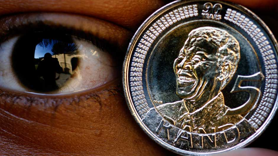 A 5 rand coin commemorating Nelson Mandela